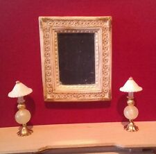 Dollhouse Miniature Ornate Mirror & 2 Handcrafted non-electric yellow trim Lamps