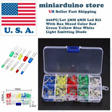 200Pcs 3mm 5mm LED Light White Yellow Red Blue Green Assortment Diodes Kit Box