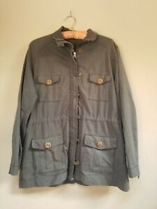 Neon Buddha Zipper Button Utility Jacket Gray Size XL Flap Pockets Drawstring