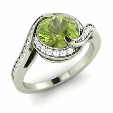 Certified 1.35 Ct Natural Peridot & SI Diamond Engagement Ring In 14K White Gold