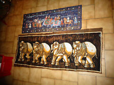 Peinture d'inspiration  Indienne Moghol;  Procession à dos d'Elephant