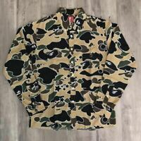A BATHING APE BAPE Sta Camo Yellow Long Sleeve Shirt Size S Made in Japan