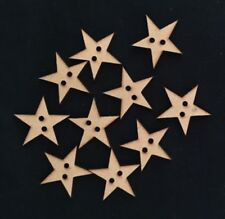 Star button custom made laser cut wooden star perfect for Christmas pack of 10