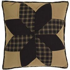 PILLOW COVER 16X16 IN DAKOTA STAR BLACK TAN QUILTED COTTON PRIMITIVE COUNTRY