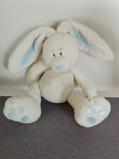 Doudou lapin écru longues oreilles et nez bleu premier modèle Kimbaloo + cadeau