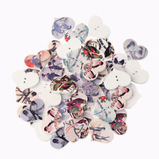 50x Vintage Love Heart Pattern Sewing Decorative Button Wooden Buttons DIY Craft