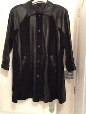 Ladies Black Suede and Leather Coat Size 14-16