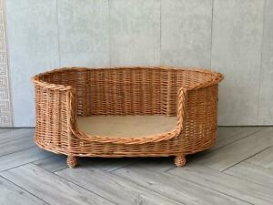 Large Luxury Handmade Natural Wicker Oval Dog Bed Willow With Legs