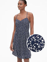 GAP Floral Print Fit and Flare Cami Dress Navy Floral Size L Item #418589