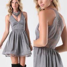 Bebe Lace Back Dress Size 6 Gray