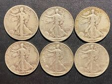 90% Silver coins -  Walking Liberty Halves - 6 different dates/mint marks