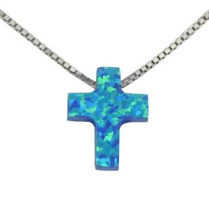 "Beautiful Blue Fire Opal Cross Necklace With18"" 925 Sterling Silver Chain"