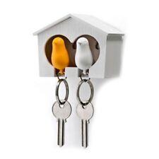 Duo Wood House Sparrow Bird Key Ring + Key Holder + Whistle - White+Yellow L6C9