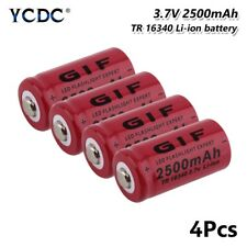 4Pcs 16340 Battery 3.7V 2500mAh Rechargeable Cell For Flashlight Torch Toy CFBD