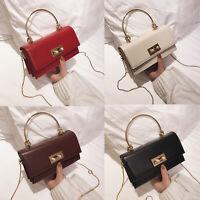 Small Mini Faux Leather Single Shoulder Bag Crossbody Chain Purse Baguette