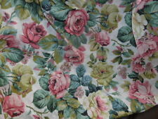 Vintage Italian Cabbage Roses Cotton Tablecloth 57 X 94 Inches