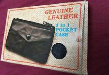 Genuine Black Leather Drivers Key Case-6 Keys~ID-change 2 Pockets~Made Korea