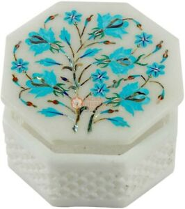 Marble Jewelry Box Turquoise Inlay Stone Floral Filigree Design Box Gift E2019