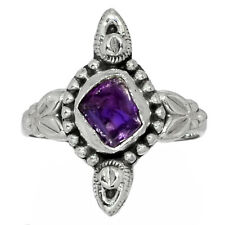 Amethyst Rough 925 Sterling Silver Ring Jewelry s.6.5 AR150932 109G