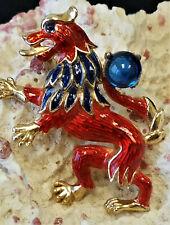 Rare Crown Trifari Signed Griffin Gryphon Lion Rampant Heraldic Imagery Pin