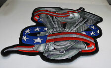 "Patch ecusson ""moteur et drapeau usa"" harley, moto; rockabilly, biker,"