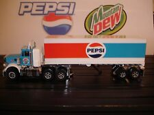 "AUTO WORLD ~ Peterbuilt ""Retro"" Pepsi Racing Rig with Trailer ~Also Fits AFX, AW"