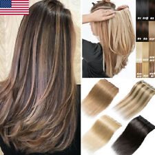 One Piece Weft 3/4 Full Head Clip in Real Remy Human Hair Extensions Seamelss US