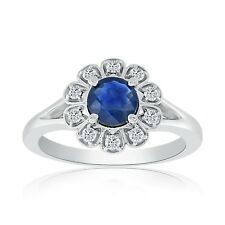 Round Sapphire and Diamond Fashion Ring set in 14k White Gold