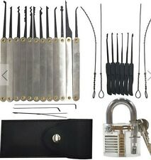 12pcs Unlocking Lock Pick Set + 10pcs Key Extractor Set +1pc Transparent Padlock