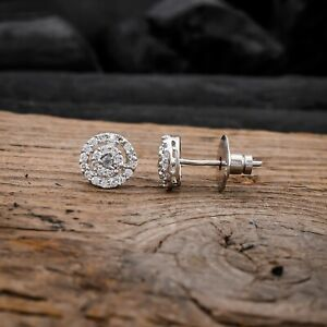 Cubic Zirconia Stud Earrings White CZ Round Paved Earring Women Bridal Jewelry