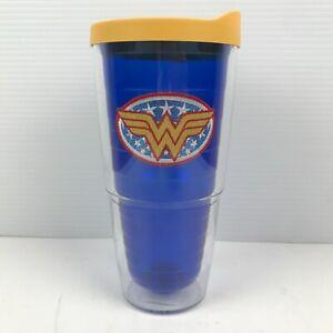 Tervis Wonder Woman Logo 24 oz Insulated Tumbler w Lid Sapphire Blue Yellow