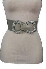Women Stretch Grey Belt Hip High Waist Silver Beads Long Bow Buckle Fashion S M