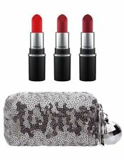 MAC-Holiday Mini Lipstick Kit~ROSE~Setx3 Lipsticks & Sequin Bag Gift! GLOBAL!