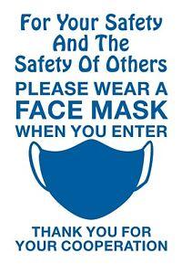 Please Wear a Face Mask When You Enter Self Adhesive Vinyl Sign 26cm x 17cm