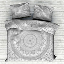 Indian Silver Ombre Mandala Cotton King Size Duvet Cover Gypsy Bedding Set Donna