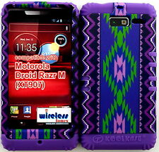 Hybrid Cover Case Motorola Droid Razr M XT907 Verizon P Tribal Aztec on Purple