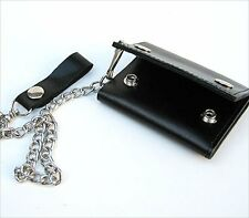 BLACK LEATHER Biker's style Trifold Chain Wallet ID Card Holder Nice