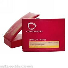 Connoisseurs 25 Wipes Polishing Cloths for Gold GF Silver Fine Jewellery Cleaner