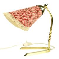 Tisch Leuchte Krähenfuß Lämpchen Messing Tütenschirm Vintage 50er Jahre MCM Lamp