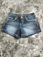 Maurices Women's 3/4 Denim Jean Shorts Thick Stitch Stretch Low Rise Curvy #A1