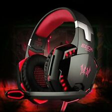 3.5mm Gaming Headset Mic RED LED Headphones Stereo For Laptop Mac PS4 Xbox One