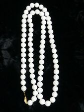 Beaded White Jade 14k clasp Necklace