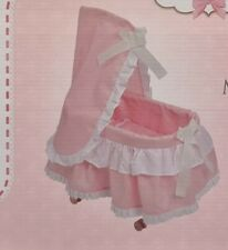 More details for new deluxe dolls moses basket on wheels best quality brand new girls toy doll