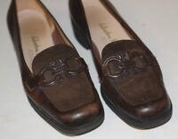 Salvatore Ferragamo Sz 7 B Brown Suede&Leather Gancini Bit Flat Shoes Loafers IT