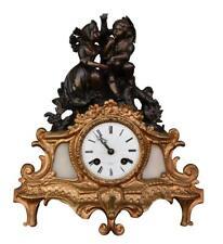Pendule époque 1880 au deux jeunes amoureux régule  doré et marbre blanc