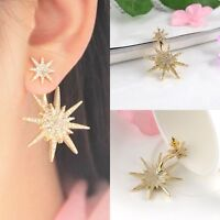 1Pc Crystal Rhinestone Lady Women Dangle Gold Earrings Star Ear Stud Earring ID