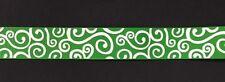 "Green with WHITE  Swirl pattern 7/8"" Printed Grosgrain Ribbon 1m"