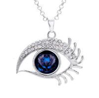16mm Harry Potter Ravenclaw Glass Noosa Snap Crystal Evil Eyes Shaped Necklace