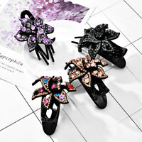 1Pc Hairpin Slide Pins Crystal Grips Accessories Flower Clips Hair Comb Women's