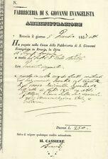 Fabbriceria di S. Giovanni Evangelista di Brescia - Documento 1857